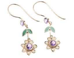 Sale 9194 - Lot 311 - A PAIR OF SUFFRAGETTE STYLE GEMSET DAISY EARRINGS; each a floral cluster centring a round cut amethyst to seed pearl surround suspen...