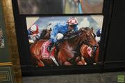 Sale 8200A - Lot 3011 - Makybe Diva, an original oil on canvas 70 x 90 x 5 cm of this horse in Melbourne Cup action