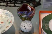 Sale 8362 - Lot 207 - Vintage Murano Art Glass Vase & Paper Weight (2)