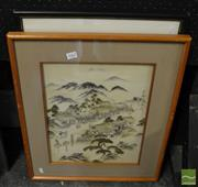 Sale 8471 - Lot 2062 - 2 Framed Embroideries; Birds on a Branch & Village Scene