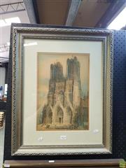Sale 8609 - Lot 2024 - Artist Unknown - Cathedral, offset lithograph, 49 x 60cm, (frame) signed lower left