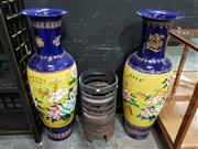 Sale 8889 - Lot 1007 - Pair of Large Cobolt Blue Chinese Floor Vases