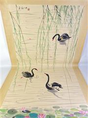 Sale 8909S - Lot 603 - Large Hand Painted Chinese Scroll Featuring Black Swans