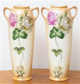 Sale 9103M - Lot 706 - A pair of art nouveau vases depicting roses on a cream ground. Height 30cm.