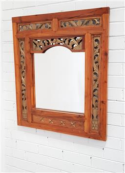 Sale 9112 - Lot 1082 - Balinese timber framed mirror (90x79cm)