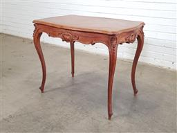 Sale 9162 - Lot 1076 - Louis XV Style Walnut Table, with quarter veneered top & carved frieze drawer, raised on cabriole legs (h:71 x w:90 x d:60cm)