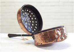 Sale 9162 - Lot 1086 - 19th Century Copper Chestnut Roaster, with pierced hinged cover & iron handle (length 47cm)