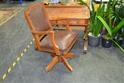 Sale 7987A - Lot 1188 - Timber Swivel Captains Chair