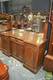 Sale 8267 - Lot 1034 - Late Victorian Mahogany Breakfront Sideboard, with high mirror back, central drawer & two doors
