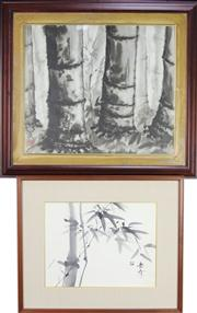 Sale 8304A - Lot 54 - Japanese Signed & Framed Watercolour of Bamboo with Another