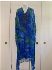Sale 8694A - Lot 65 - A Camilla sheer silk kaftan and slip in shades of blue and green, one size
