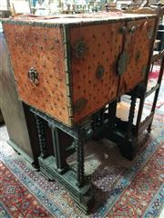 Sale 8774 - Lot 1057 - Early 20th Century Vargueno Style Bar Unit, brass and red velvet (deteriorated) mounted top with two doors and internal mirror (miss...