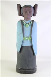 Sale 8902 - Lot 8 - Handpainted Carved Timber Figure of a Mexican Lady (H56cm)