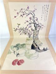 Sale 8909S - Lot 648 - Large Hand Painted Chinese Scroll Featuring Cherry Blossom tand Fish Still Life