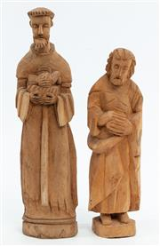 Sale 9015J - Lot 197 - Pair of more recent large timber carved Santos figures, height of taller 50cm