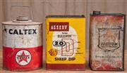Sale 8984H - Lot 47 - Three assorted cans including a Caltex petrol a Mobil oil can and a Agserv sheep dip can, height of largest 24cm