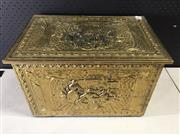 Sale 9006 - Lot 1061 - Brass Coal Box (H:29 x W:46 x D:30cm)