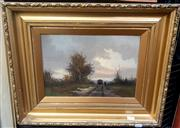 Sale 9061 - Lot 2006 - Artist Unknown, Old Wagon on Country Road, oil on board, frame: 40 x 50 cm, signed lower left