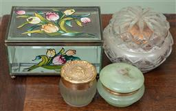 Sale 9120H - Lot 287 - Small group of glass lidded jars and boxes, various sizes.