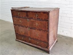 Sale 9126 - Lot 1228 - Late 17th Century Perhaps William & Mary Oak Chest of Five Drawers, inlaid with star-bursts to the top, sides and some of the drawer...