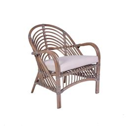 Sale 9134H - Lot 59 - A set of four rattan armchairs including linen and cotton cushions, Height 82cm x Width 68cm x Depth 60cm