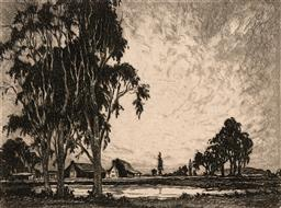 Sale 9256A - Lot 5105 - ALFRED EDWARD WARNER Cottages by the Dam drypoint etching (unframed) 14 x 19 cm (sheet: 20.5 x 24 cm) unsigned
