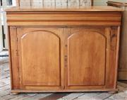 Sale 7379B - Lot 53 - C19th Cedar Sideboard with two arched doors revealing a shelved interior below a frieze drawer on squat bun feet. 90 x 120 x 52cm