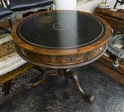 Sale 8205 - Lot 81 - A burr walnut veneered leather topped drum table, on carved tripod base, with single drawer, H 75 x D 91cm