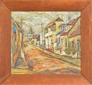 Sale 8266 - Lot 515 - Dorothy Atkins (1914- 1997) - Untitled (Street Scene) 41 x 45cm