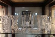 Sale 8306 - Lot 100 - Bohemian Crystal Heavy Gauge Vase with Other Crystal incl. a Pair of Etched Flower Vases