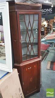Sale 8371 - Lot 1073 - Mahogany Inlaid Two Piece Corner Cabinet
