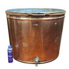 Sale 8351A - Lot 65 - An Impressive Large French Copper Tub with Brass Tap(Handle AF) diameter 70cm depth 55cm