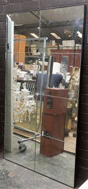Sale 8709 - Lot 1016 - An eight panel mirror with glass print floral decoration, in an iron frame, H x 160cm, W x 92cm