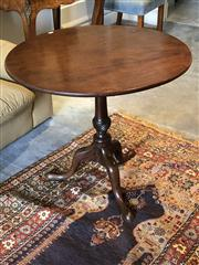 Sale 8815A - Lot 15 - An handsome antique George III snap top table circa 1770 the circular top cut from a single mahogany plank above the staped stem wit...