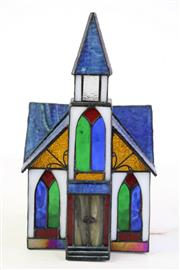 Sale 8849 - Lot 100 - A Lead Light Church Themed Table Lamp, in working order, H27cm L17cm