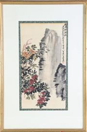 Sale 8909S - Lot 642 - Framed Chinese Picture of flowers and rocks, H68cm x W45cm