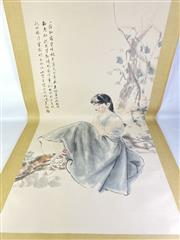 Sale 8909S - Lot 652 - Large Hand Painted Chinese Scroll Featuring Pensive Lady