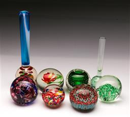 Sale 9098 - Lot 199 - Collection of Decorative Glass Paperweights together with Similar Vase Form Examples