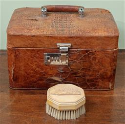 Sale 9120H - Lot 288 - A distressed croc skin vanity/ jewellery case together with a hedgehog adorned clothes brush, case Height 17cm x Width 29cm x Depth 2..