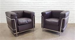 Sale 9134 - Lot 1084 - Pair of Le Corbusier LC2 lounge chairs for Cassina (h:68 w:76 d:70cm)