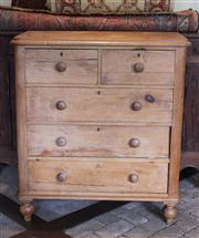 Sale 7379B - Lot 54 - Huon pine chest of two short and three long drawers o baluster feet 106 x 46 x 94cm