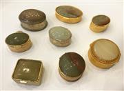 Sale 8436A - Lot 70 - A group of vintage silver plate and gilt stone set pill boxes mainly cabochon agate, various origins. (8)