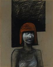 Sale 8975A - Lot 5094 - Geoff Todd - Red Haired Girl 1989 57 x 44 cm (frame: 85 x 69 x 3cm)