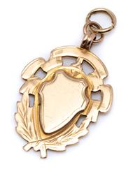 Sale 8991 - Lot 349 - A HALLMARKED 9CT GOLD FOB PENDANT; uninscribed shield fob hallmarked WHH for William Hair Haseler, Birmingham, possibly 1921, size 3...