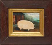 Sale 9087H - Lot 248 - A bucolic, naive painting of a pig, framed size 40 x 47cm