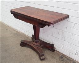 Sale 9126 - Lot 1206A - Late Regency Mahogany Fold-Over Card Table, on an inverted faceted pedestal & quadraform base (some veneer losses, h74 x d90cm)