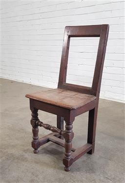 Sale 9162 - Lot 1058A - Unusual Georgian Provincial Oak Chair, with square frame back, timber seat & turned legs with stretchers (height 83cm)