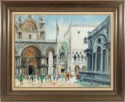 Sale 9190H - Lot 331 - European school, St. Marks Basilica, oil on panel, 44 x 59cm, signed lower right