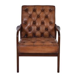 Sale 9245T - Lot 7 - An old saddle soft top grain leather with aged effect armchair, with a Mid-Century style timber show frame. Dimensions: H 93 x W 72...