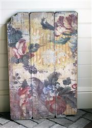 Sale 7379B - Lot 55 - Vintage painted planked panel with floral decoration 62 x 99cm